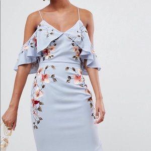 ASOS embroidered pencil midi dress